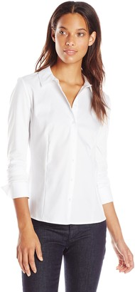 Calvin Klein Women's Knit Combo Blouse with Collar