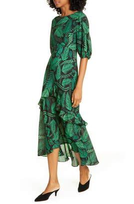 Rixo Cheryl Palm Leaf Print Silk Blend Midi Dress
