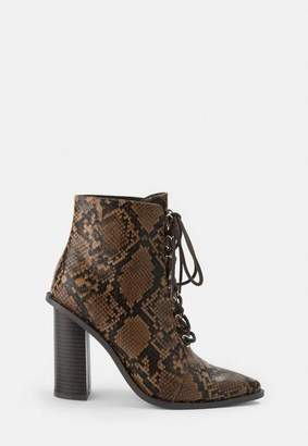 Missguided Brown Snake Print Lace Up Ankle Boots