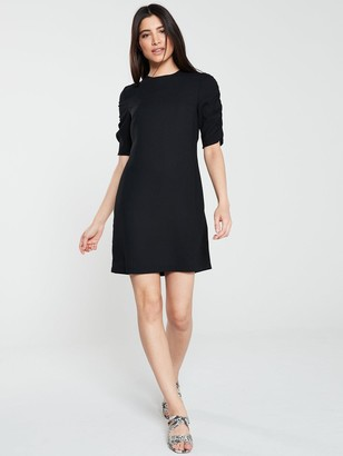 Very Ruched Sleeve Crepe Tunic - Black