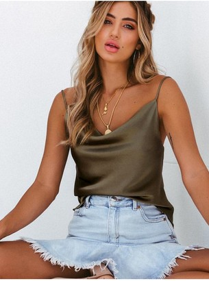 FS Collection Cowl Neck Cami Top in Khaki