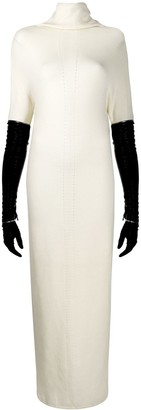 Gianfranco Ferré Pre Owned Faux-Leather Sleeves Knitted Dress