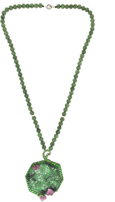 Wendy Yue 18K White Gold and Green Jade Necklace
