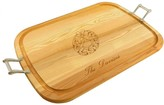 The Well Appointed House Personalized Large Wooden Handled Cutting Board with Christmas Wreath Design