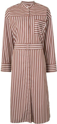 MSGM Cotton Striped, Belted Shirt Dress