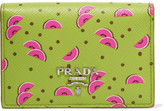 Prada Printed Textured-leather Cardholder - Lime green
