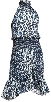 A.L.C. Cody Silk Halter Leopard-Print Dress