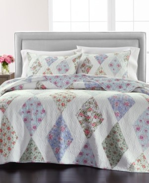 Martha Stewart Collection Reversible Diamond Floral Patchwork Twin/Twin Xl Quilt, Created for Macy's
