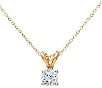 Camilla And Marc Naava Women's 9 ct White Gold 0.25 ct Single Stone Diamond Pendant with 46 cm Yellow Gold Trace Chain Necklace