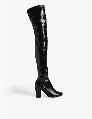 Maje Fotui thigh-high patent leather boots