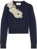 Roksanda Nobuya Cropped Appliquéd Wool Sweater - Navy