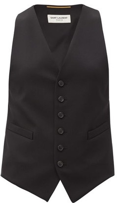 Saint Laurent Grain-de-poudre Wool Waistcoat - Black