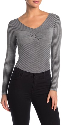 KENDALL + KYLIE Scoop Neck Long Sleeve Rib Knit Bodysuit