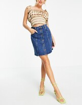 Thumbnail for your product : And other stories & organic blend cotton mini denim skirt with gold daisy buttons in blue