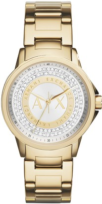 Ax Armani Exchange Armani Exchange Ladies Lady Banks Stainless Steel Watch Color: Gold/Glitz Dial (Model: AX4321)
