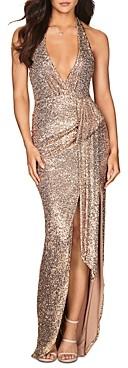 Nookie Selena Plunging Sequin Halter Gown