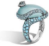 John Hardy Legends Cobra Aquamarine & Diamond Ring with Diamonds, Size 7