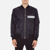 Msgm Bomber Jacket With Reflective Strip Black