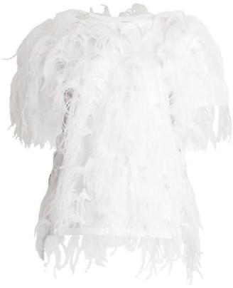 Valentino Ostrich Feather Jersey T-Shirt