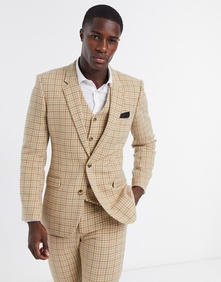 ASOS DESIGN wedding skinny wool mix suit jacket in camel houndstooth check
