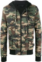 Philipp Plein camouflage hooded jacket