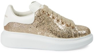 Alexander McQueen Women's Glitter Leather Platform Sneakers