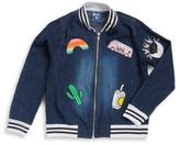 Flowers by Zoe Denim Patch-Accented Varsity Jacket