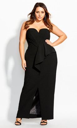 City Chic Sleek Split Maxi Dress - black