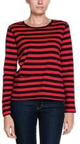 Joan Vass Flame Red & Pitch Black Striped Top.