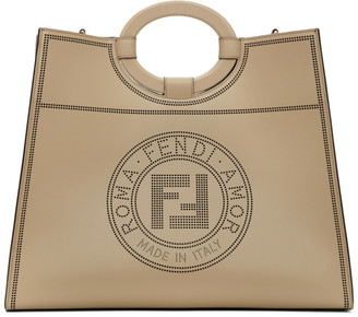 Fendi Beige Large Perforated Runaway Shopper Tote