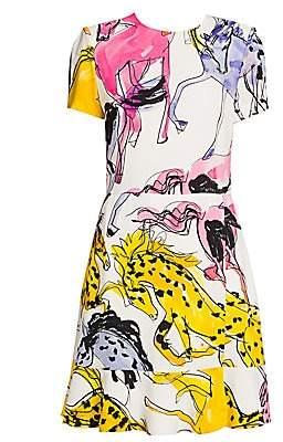 Stella McCartney Women's Horse-Print Ruffle Dress