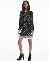White House Black Market Lattice-Sleeve Printed Knit Blouson Dress