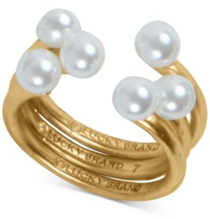 Lucky Brand Gold-Tone Imitation Pearl Adjustable Stack Ring