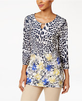 JM Collection Cheetah-Print Keyhole Tunic, Only at Macy's