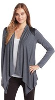 Chaus Women's Long Sleeve Pleather Shoulder Open Cardigan