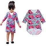 Fheaven Toddler Kids Baby Girls Flower Printing Stripe Tutu Before After Irregular Princess Dresses (2/3T)