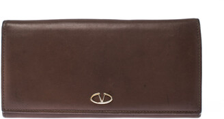 Valentino Brown Leather V Ring Flap Continental Wallet