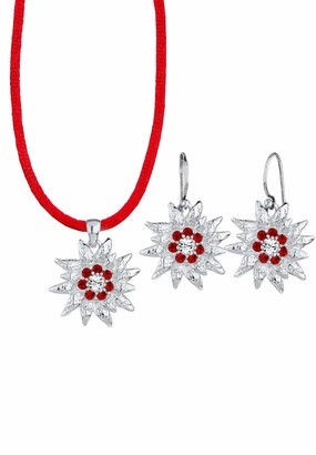 Elli Women's 925 Sterling Silver Xilion Cut Red Swarovski Crystals Pendant Necklace of Length 45 cm with Dangle Earrings