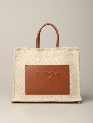 N°21 N deg; 21 Bag In Woven Raffia And Leather