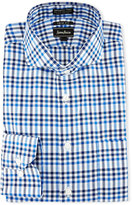 Neiman Marcus Trim-Fit Non-Iron Check Dress Shirt, Blue/Multi