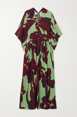 Dries Van Noten Floral-print Crepe Midi Dress - Green