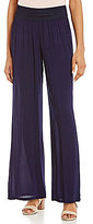 I.N. Studio Crochet Elastic Band Pull-On Solid Crepon Pant