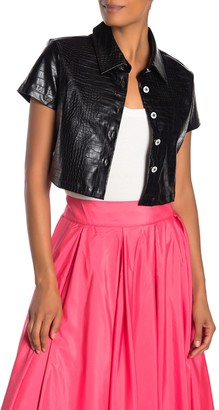 Tov Cropped Croc Embossed Faux Leather Jacket
