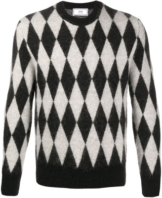Ami Crew-Neck Diamond-Pattern Jumper