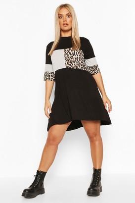 boohoo Plus Leopard Stripe T-Shirt Dress