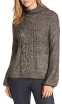 Women's Caslon Open Cable Knit Funnel Neck Sweater