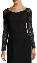 Marina Long Sleeve Boatneck Floral Lace Top