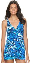 Croft & Barrow Women's Tummy Slimmer Palm Leaf Flyaway Swimdress