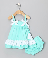 Teal Ruffle Swing Top & Diaper Cover - Infant