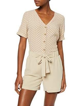 Pieces Women's PCCOYA SS TOP Blouse, Multicolour Pepper AOP:Bright White DOT, 8 ('s Size: XS)